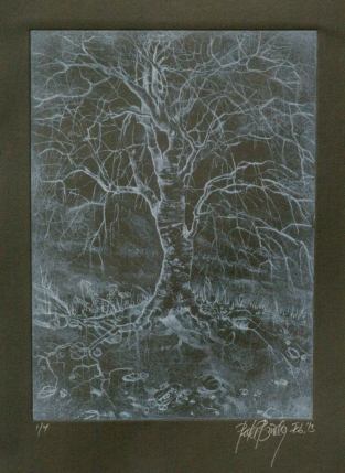 tree no.2 on black paper